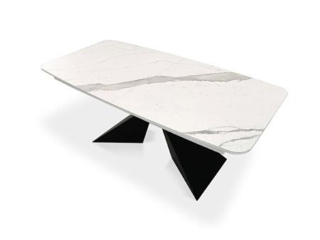 Loftowy stół rozkładany z blatem ze spieku kwarcowego