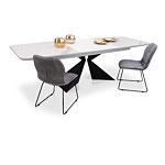 Nowoczesne krzesła na metalowych płozach ze stołem ze spieku kwarcowego