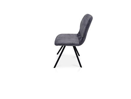 Piękne krzesło z przeszyciem na oparciu z szarej tkaniny