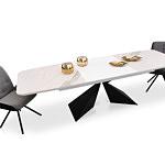 Rozłożony stół loftowy na metalowej nodze z wkładkami