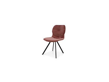 Różowe krzesło na metalowej nóżce delikatny kształt