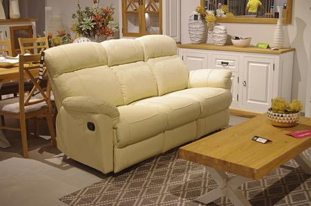 Sofa 3-os kremowa z relaxami
