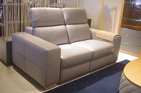 Sofa z relaxami do salonu nowoczesna szara loft