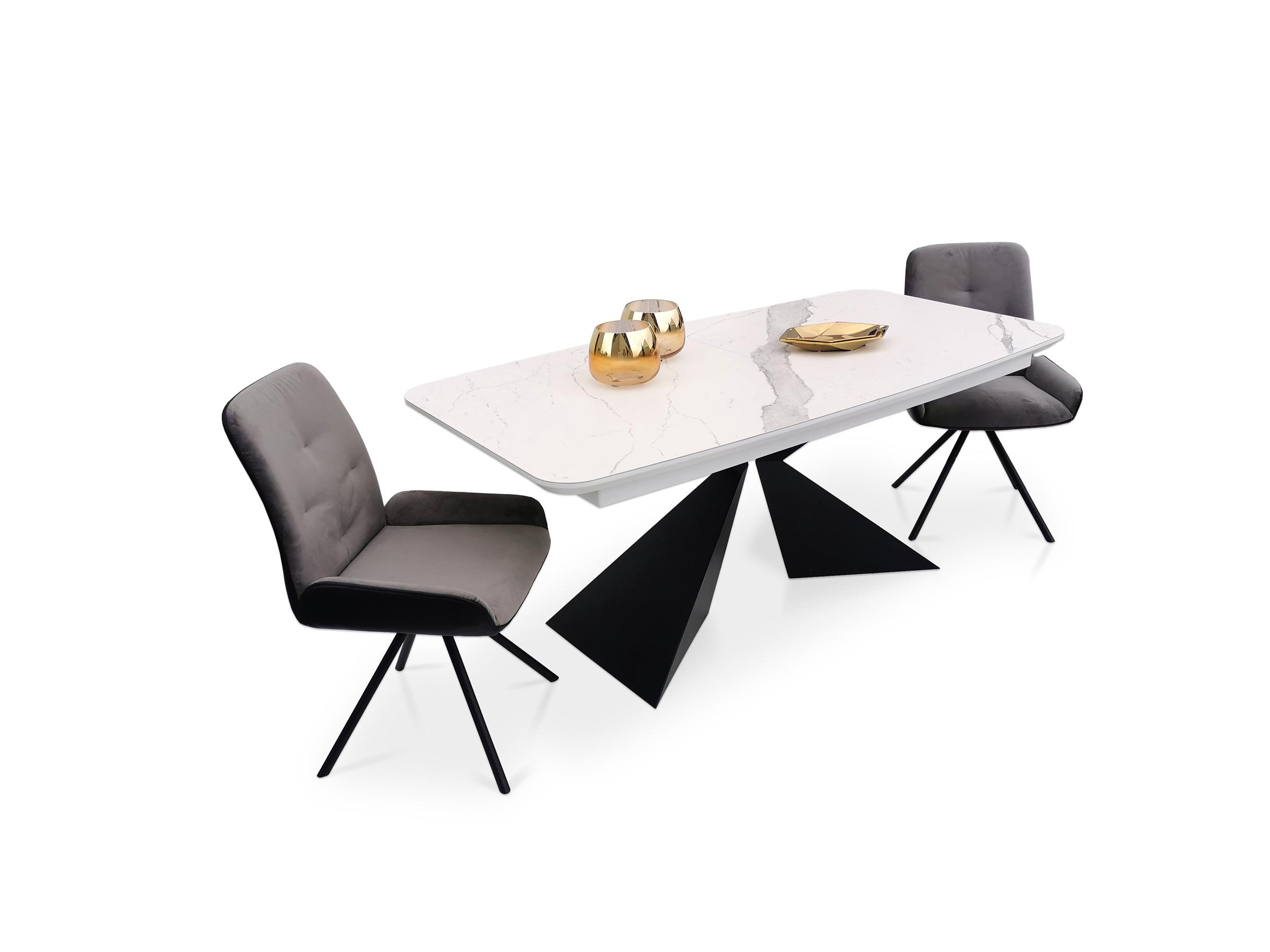 Stół a2 na metalowej czarnej nodze z wkładkami lakierowanymi
