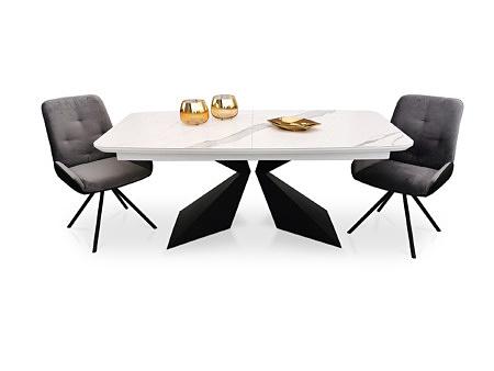 Stół beczka rozkładany lakierowany na biało, na metalowych nóżkach