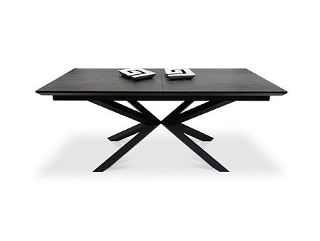 Stół do nowoczesnego domu rozkładany na czarnej nodze ciemny spiek kwarcowy industrialny
