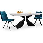 Stół na czarnych metalowych nogach z jasnym blatem
