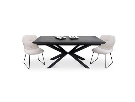 Stół na metalowej nodze z krzesłami tapicerowanymi