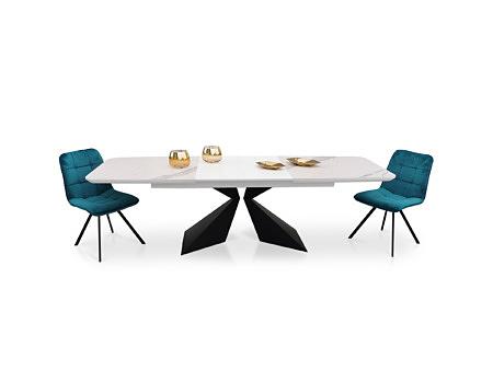 Stół o długości 280cm z wkładkami lakierowanymi biały blat lakierowany
