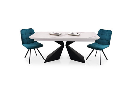 Stół rozkładany z białym blatem w kształcie beczki