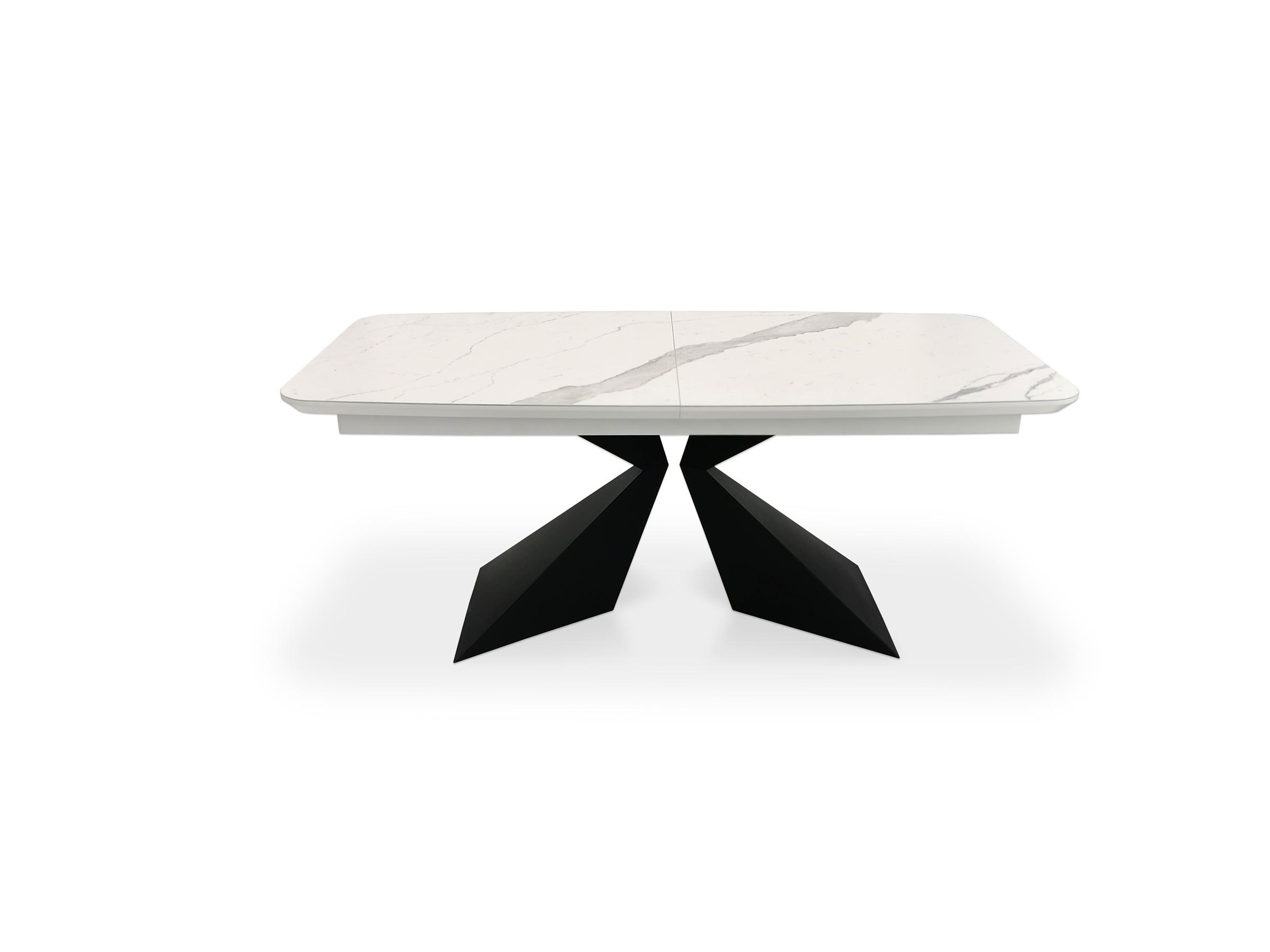 Stół rozkładany ze spiekiem kwarcowym statuario venato mat