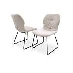 Krzesło w aksamitnej nowoczesnej tkaninie na metalowej płozie