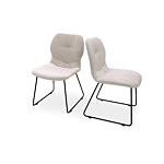 Krzesło z przeszyciem na oparciu w jasnej tkaninie