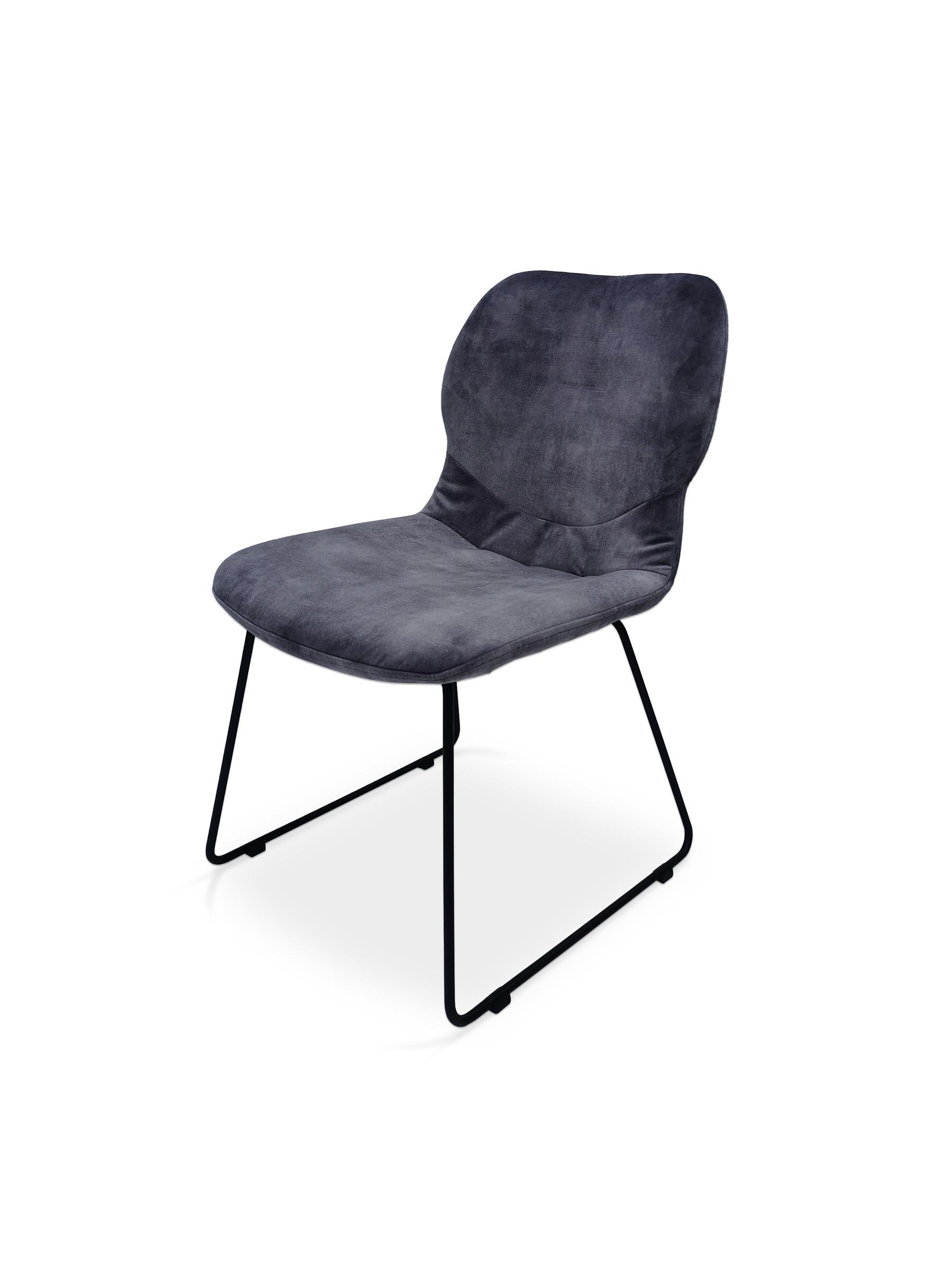 Piękne granatowe krzesło na metalowej czarnej płozie tcmeble.pl