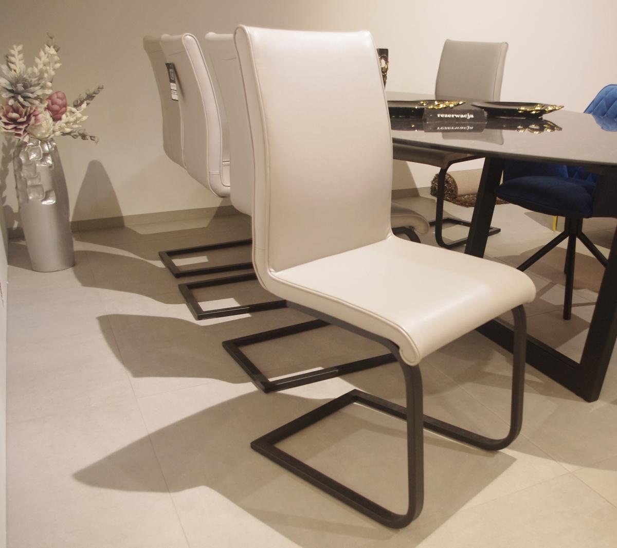 Krzesło Nuvola szara skóra