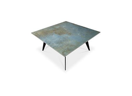 ŁAWA B27 STOLIK 90x90 cm kwadratowy niebiesko złoty spiek kwarcowy LAMINAM